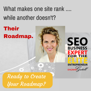 gray box with head shot SEO expert Dagmar Gatell and logo, promoting SEO review and intro coaching session