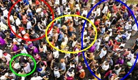 picture of people grouped through circles explaining niche marketing
