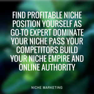 green background with white lettering, presenting the four phases of niche marketing