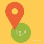 green dot with lettering local biz and red arrow on yellow background, presenting the work of a local seo expert