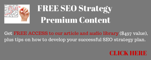 banner announcing free SEO strategy premium content and free access to SEO article and audio library