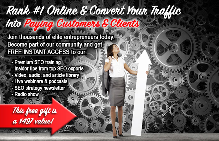 business woman with white arrow in front of wall with gray gears, offering free access to SEO strategy premium content, presented by Dagmar Gatell, SEO expert for coaches, trainers and speakers