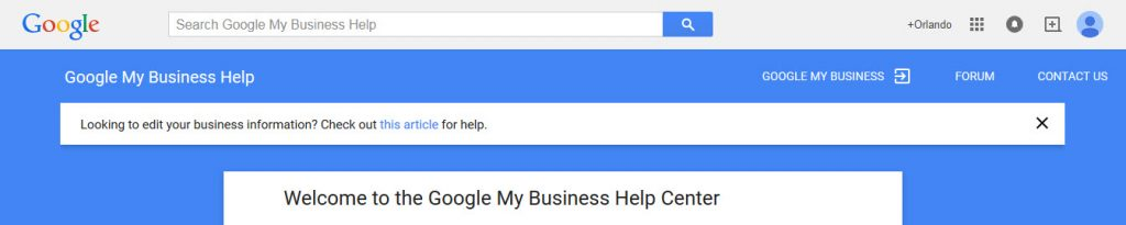 blue box with white lettering, display Google My Business Help Center